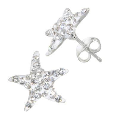 Kinder Ohrringe Silber 925 Kristall Seestern Stern