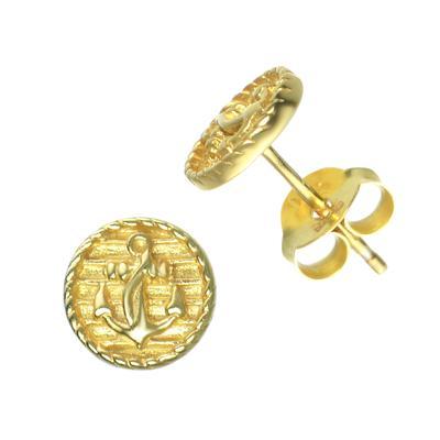 Ohrstecker Silber 925 Gold-Beschichtung (vergoldet) Anker Seil Schiff