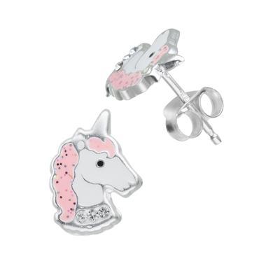 Kinder Ohrringe Silber 925 Kristall Epoxiharz Einhorn