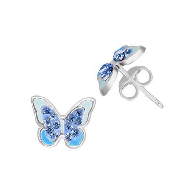 Kinder Ohrringe Silber 925 Kristall Epoxiharz Schmetterling Sommervogel