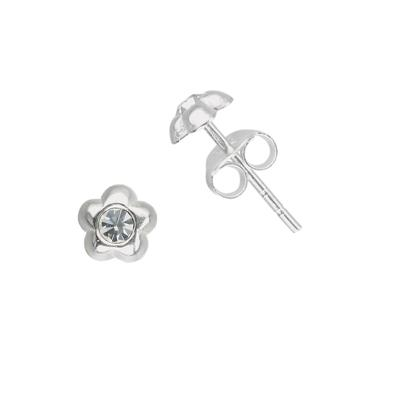 Kinder Ohrringe Silber 925 Kristall Blume