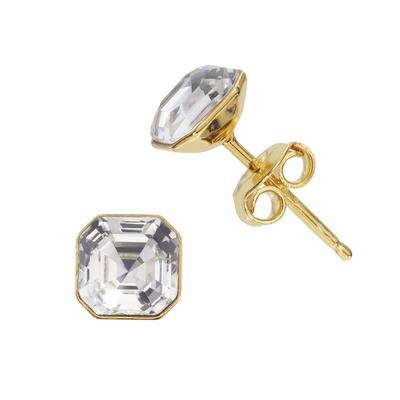 Ohrstecker Silber 925 Gold-Beschichtung (vergoldet) Hochwertiger Kristall
