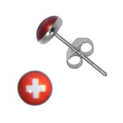 Ohrstecker Silber 925 Epoxiharz Kreuz Schweiz Schweizerkreuz