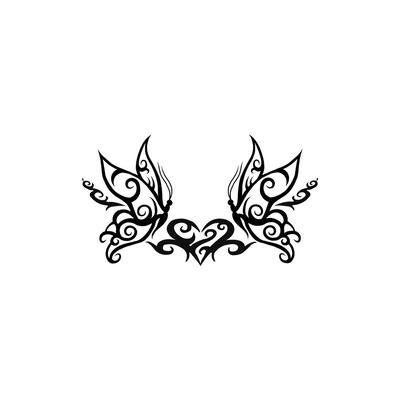 Fake-Tattoo Tribal_Zeichnung Tribal_Muster Schmetterling Sommervogel Herz Liebe
