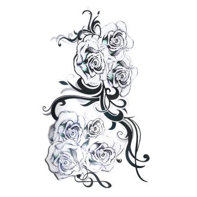 Fake-Tattoo Rose Tribal_Zeichnung Tribal_Muster Blatt Pflanzenmuster Florales_Muster Blume