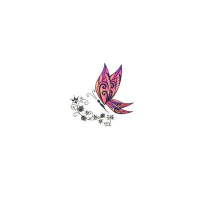 Fake-Tattoo Schmetterling Sommervogel Blatt Pflanzenmuster Florales_Muster Blume