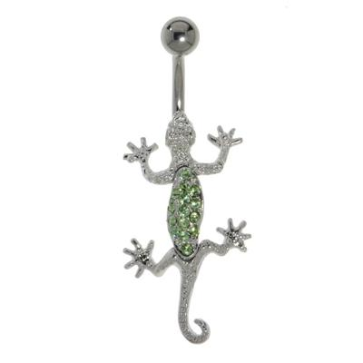 Bauchpiercing Titan Messing rhodiniert Kristall Salamander Gecko Gekko