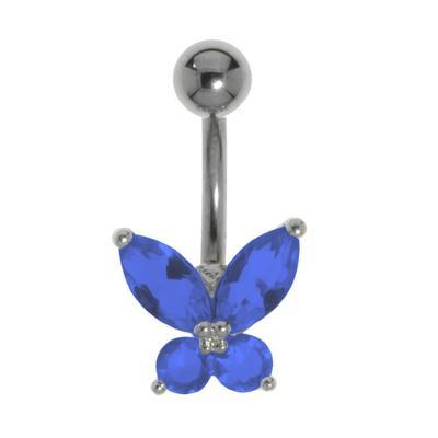 Bauchpiercing Titan Messing rhodiniert Kristall Schmetterling Sommervogel
