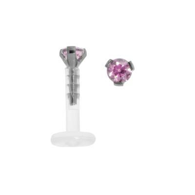 Piercing für Lippe/Tragus Bioplast Titan Kristall