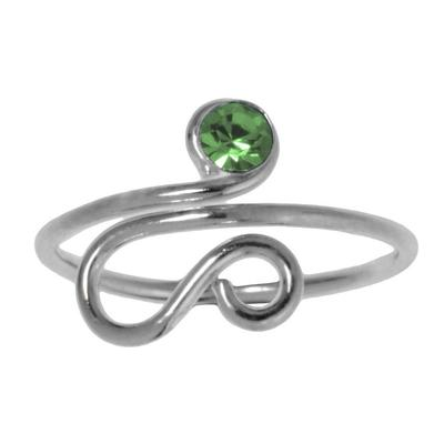 Zehenring Silber 925 Kristall Spirale