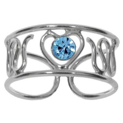Zehenring Silber 925 Kristall Herz Liebe Welle