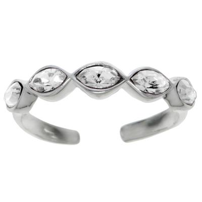 Zehenring Silber 925 Kristall Welle Ewig Schlaufe Endlos