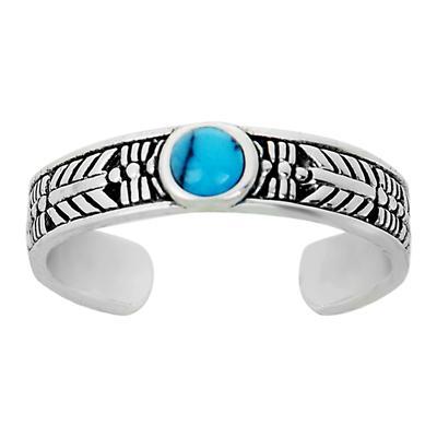 Zehenring Silber 925 Türkis Tribal_Zeichnung Tribal_Muster