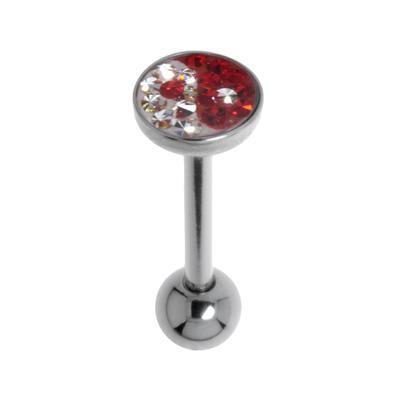 Zungenpiercing Chirurgenstahl 316L Swarovski Kristall Epoxiharz Yin_Yang