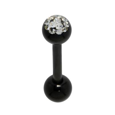 Zungenpiercing Chirurgenstahl 316L PVD Beschichtung (schwarz) Kristall Epoxiharz