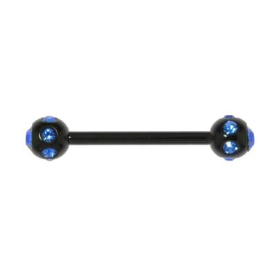 Zungenpiercing Chirurgenstahl 316L Swarovski Kristall PVD Beschichtung (schwarz)