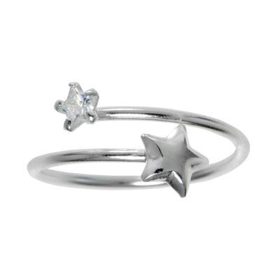 Fingerring Silber 925 Kristall Stern Spirale
