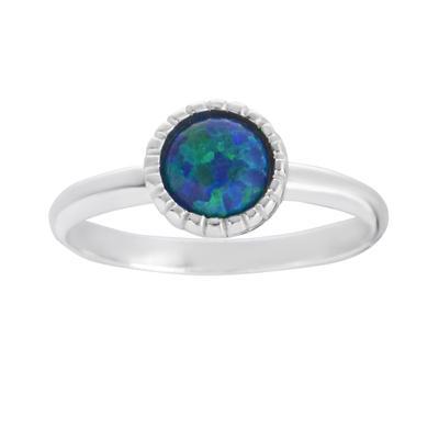 Fingerring Silber 925 Synthetischer Opal