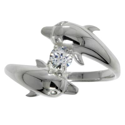 Fingerring Silber 925 Kristall Delphin Delfin