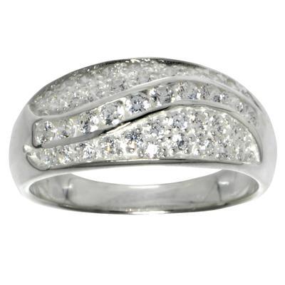 Fingerring Silber 925 Kristall Welle