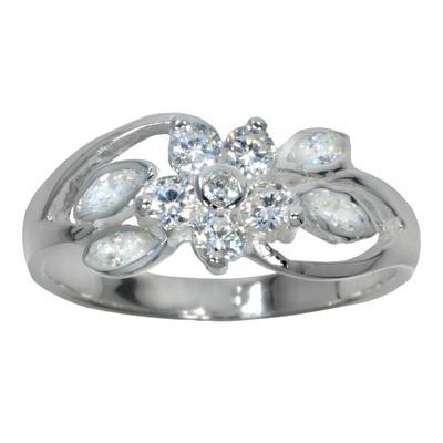 Fingerring Silber 925 Kristall Blume Blatt Pflanzenmuster Florales_Muster