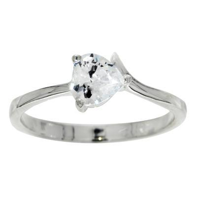 Fingerring Silber 925 Kristall Herz Liebe