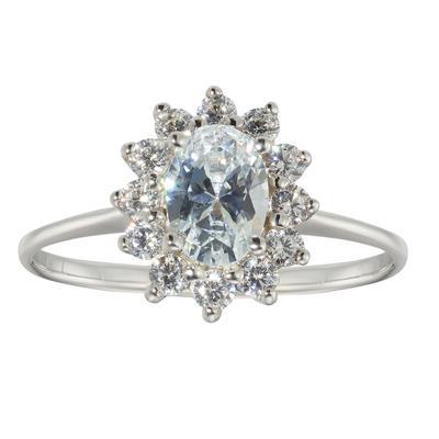 Fingerring Silber 925 Zirkonia Blume Stern