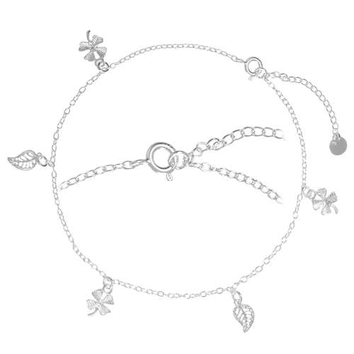 Fusskettchen Silber 925 Blatt Pflanzenmuster Florales_Muster