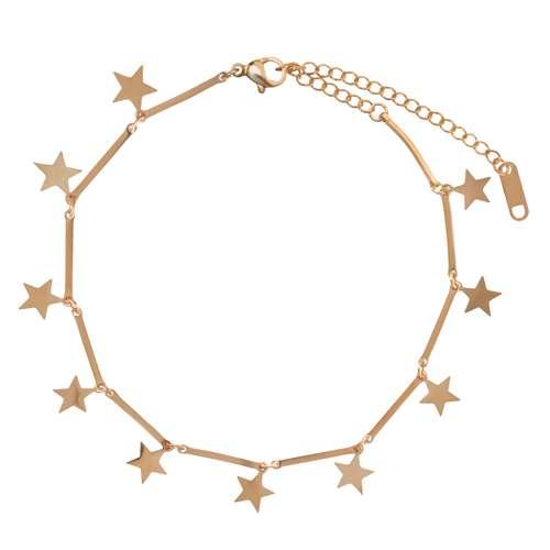 Fusskettchen Edelstahl PVD Beschichtung (goldfarbig) Stern
