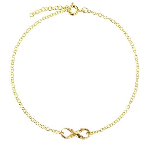 Fusskettchen Silber 925 Gold-Beschichtung (vergoldet) Ewig Schlaufe Endlos