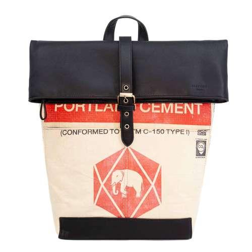 elephbo Tasche Recycelter Zementsack aus gewebtem Kunststoff Kunstleder Ganesha Elefant