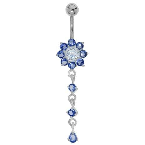 Bauchpiercing Chirurgenstahl 316L Silber 925 Kristall Blume Tropfen Tropfenform Wassertropfen