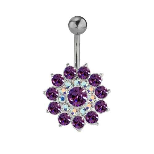 Bauchpiercing Silber 925 Chirurgenstahl 316L Kristall Blume