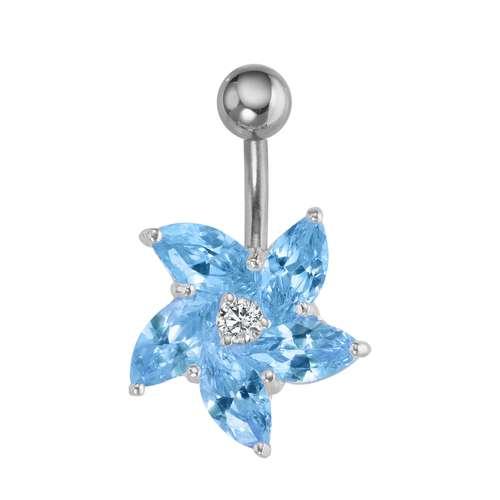 Bauchpiercing Silber 925 Chirurgenstahl 316L Zirkonia Blume