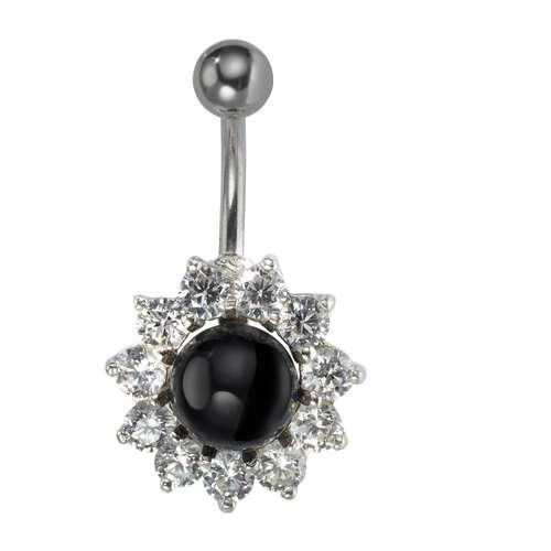 Bauchpiercing Silber 925 Chirurgenstahl 316L Synthetische Perle Kristall Blume