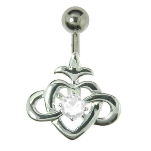 Bauchpiercing Silber 925 Chirurgenstahl 316L Swarovski Kristall Tribal_Zeichnung Tribal_Muster Herz Liebe Ewig Schlaufe Endlos