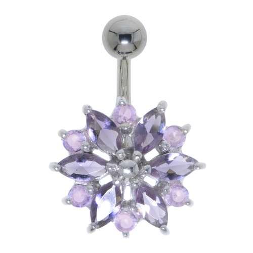 Bauchpiercing Chirurgenstahl 316L Silber 925 Swarovski Kristall Blume