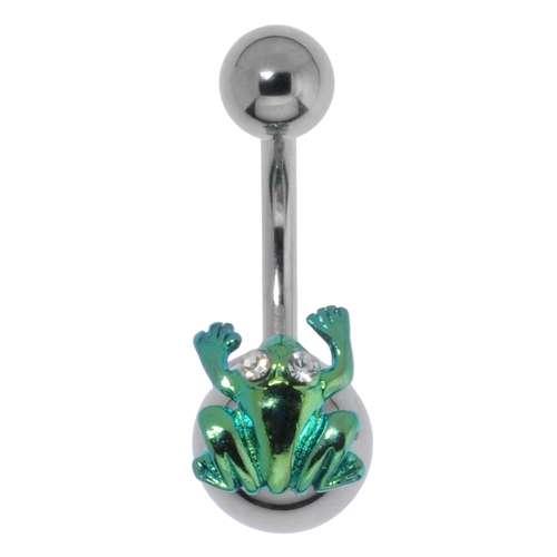 Bauchpiercing Chirurgenstahl 316L Messing rhodiniert Frosch