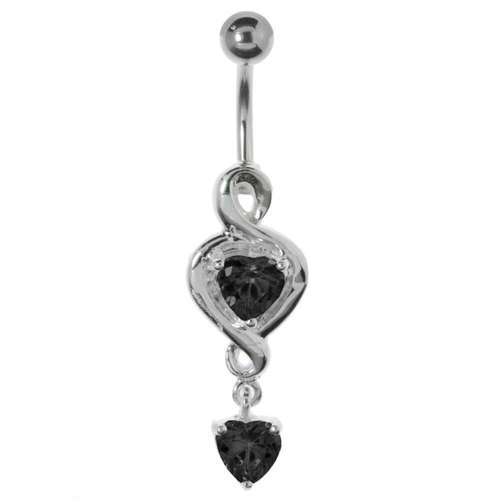 Bauchpiercing Silber 925 Chirurgenstahl 316L Kristall Herz Liebe