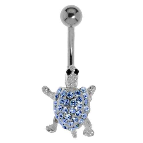 Bauchpiercing Silber 925 Chirurgenstahl 316L Kristall Schildkröte