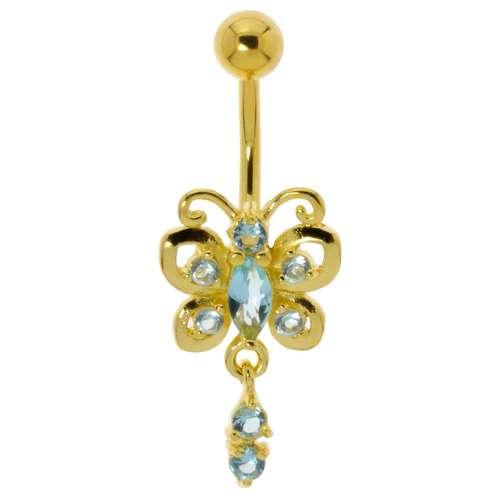 Bauchpiercing Chirurgenstahl 316L Gold-Beschichtung (vergoldet) Kristall Schmetterling Sommervogel
