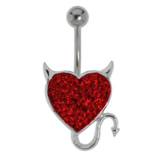 Bauchpiercing Chirurgenstahl 316L Messing rhodiniert Kristall Teufelsherz Herz_mit_Hörnern