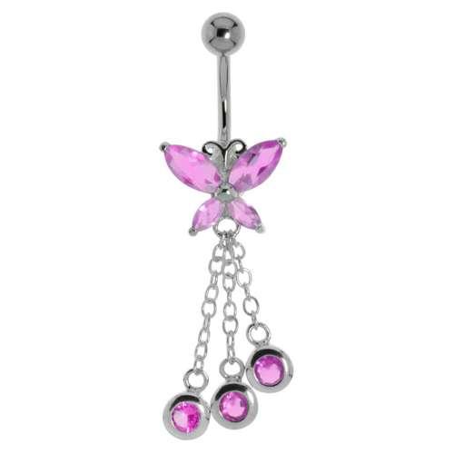 Bauchpiercing Chirurgenstahl 316L Kristall Silber 925 Schmetterling Sommervogel