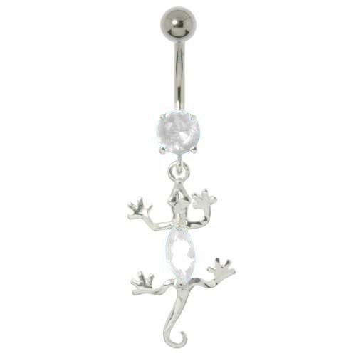 Bauchpiercing Chirurgenstahl 316L Silber 925 Zirkonia Salamander Gecko Gekko