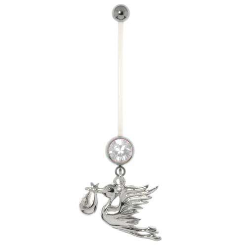 Schwangerschaftspiercing Chirurgenstahl 316L Kristall Bioplast Messing mit Stahlbeschichtung Adler Vogel Storch