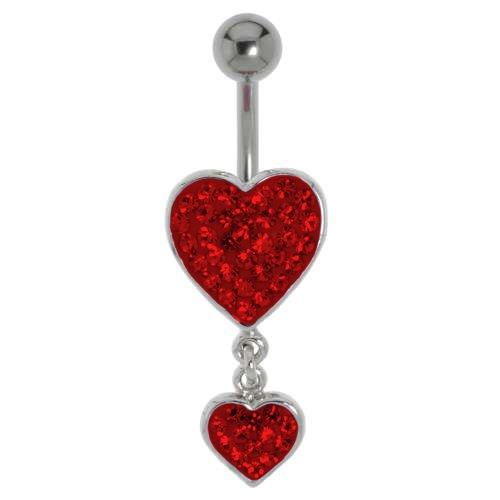 Bauchpiercing Chirurgenstahl 316L Messing rhodiniert Kristall Herz Liebe
