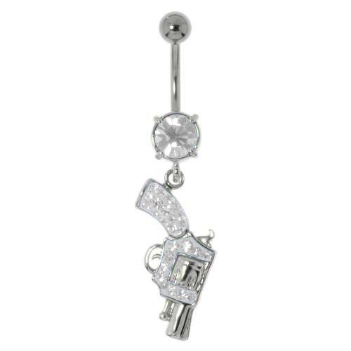 Bauchpiercing Chirurgenstahl 316L Messing rhodiniert Kristall Pistole Revolver