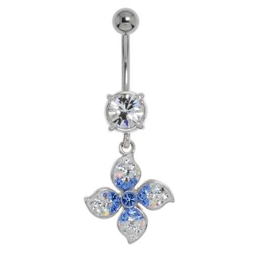 Piercing nombril Acier chirurgical 316L Laiton rhodié Cristal Fleur