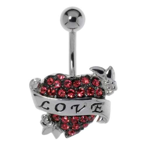 Bauchpiercing Silber 925 Chirurgenstahl 316L Kristall Love Liebe Herz Liebe