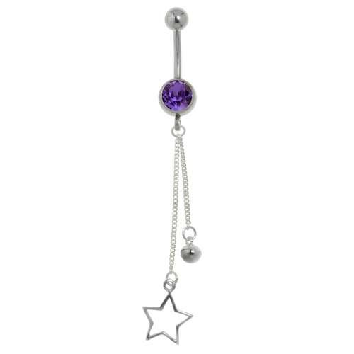 Bauchpiercing Chirurgenstahl 316L Silber 925 Kristall Stern